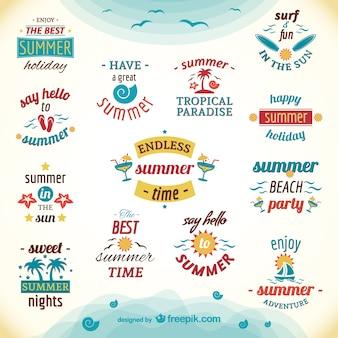 Etiquetas de vacaciones de verano