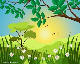 Ilustración de paisaje soleado