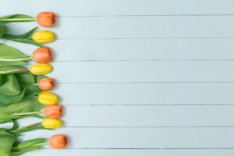 Superficie decorativa con tulipanes amarillos y naranjas