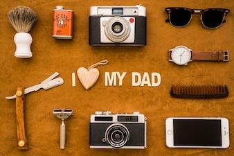 Superficie del día del padre con geniales elementos