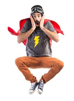 Superhéroe, hacer, sorpresa, gesto