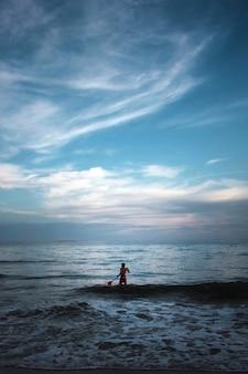 Surfista en paisaje marino