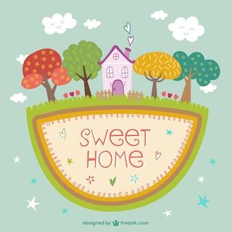 Dulce hogar con árboles