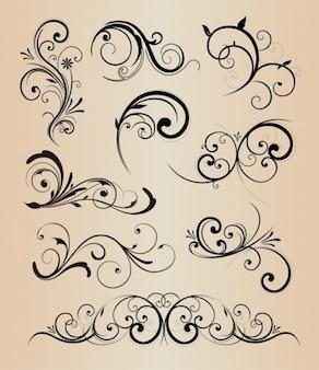 Elementos vectoriales paquete swirly floral