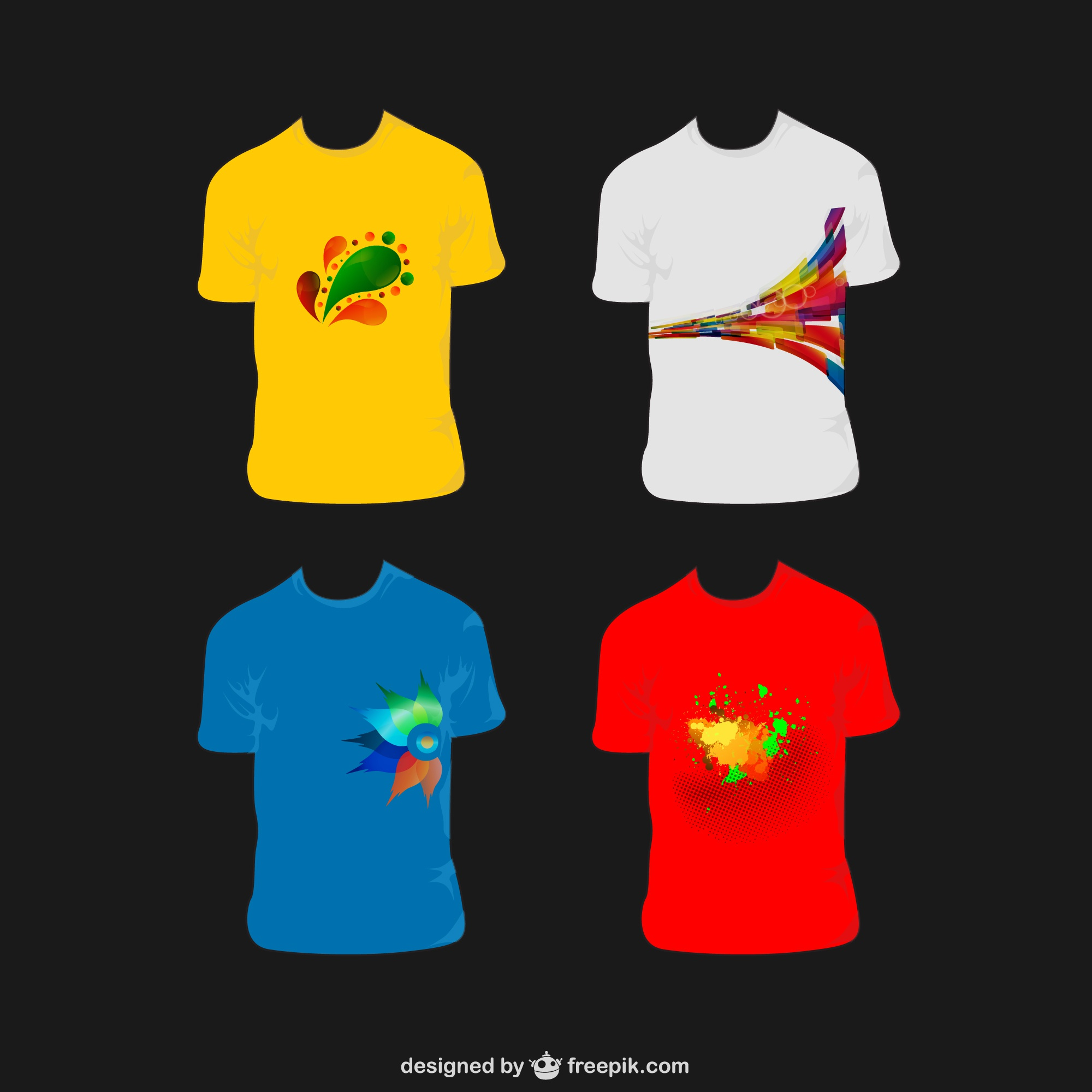 Vectores camisetas de colores