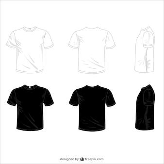 Vectores camisetas blancas y negras
