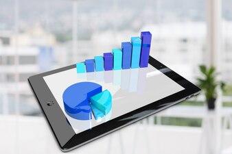 Tableta con gráficos en tonos azules
