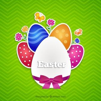 Tarjeta colorida huevos de Pascua