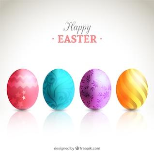 Tarjeta con huevos decorados para la Pascua