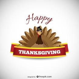 Tarjeta de Acción de Gracias con pavo