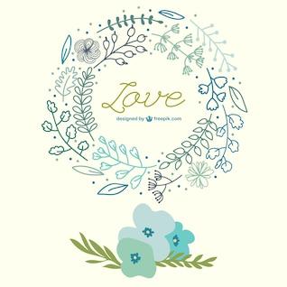 Tarjeta de amor con flores dibujadas a mano