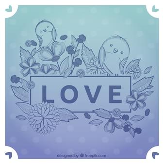 Tarjeta de amor dibujada a mano con pájaros