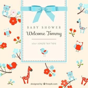 Tarjeta de Animales para bienvenida del bebé