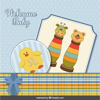 Tarjeta de Baby Shower con los juguetes y el pato