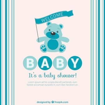 Tarjeta de bienvenida del bebé azul con el oso de peluche