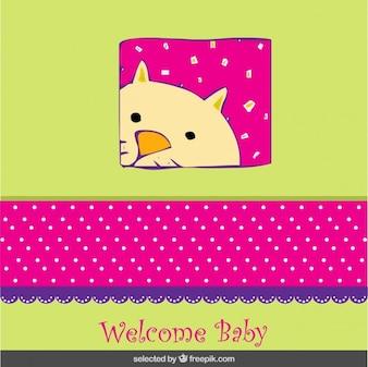 Tarjeta de bienvenida del bebé colorida con un gato