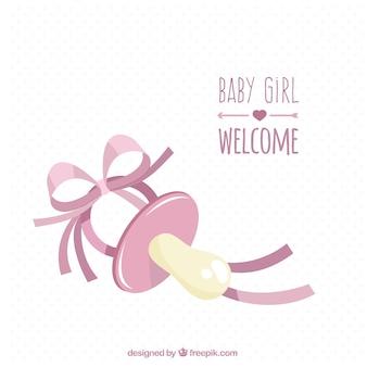 Tarjeta de bienvenida del bebé con chupete rosa