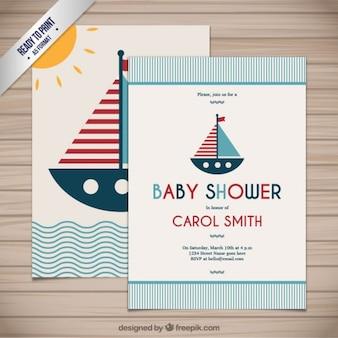 Tarjeta de bienvenida del bebé en estilo náutico