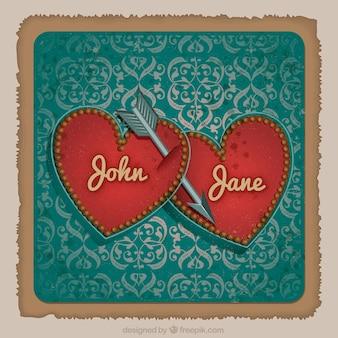 Tarjeta de boda con corazones