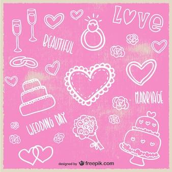 Tarjeta de boda con dibujos simples