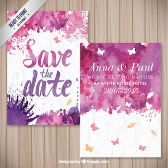 Tarjeta de boda de la acuarela
