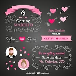 Tarjeta de boda en estilo pizarra