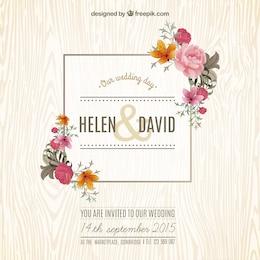 Tarjeta de boda floral en estilo primavera