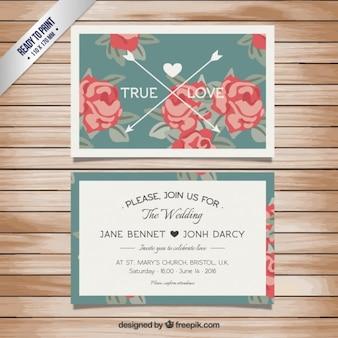 Tarjeta de boda floral en estilo retro