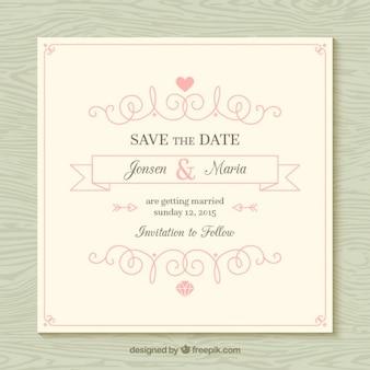 Tarjeta de boda ornamental