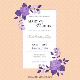 Tarjeta de boda vintage con las rosas púrpuras