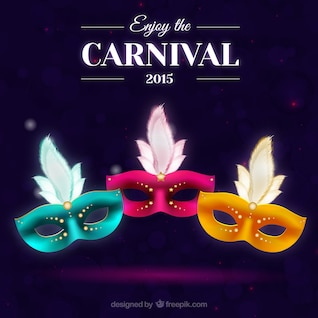 Tarjeta de carnaval con máscaras