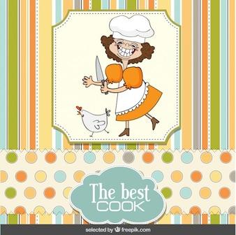 Tarjeta de cocinero divertido en el estilo del libro