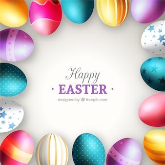 Tarjeta de coloridos huevos de Pascua