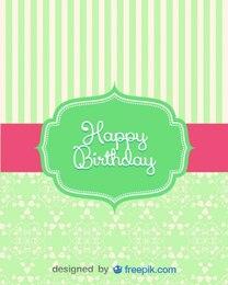 tarjeta de cumpleaños antigua de diseño a rayas retro
