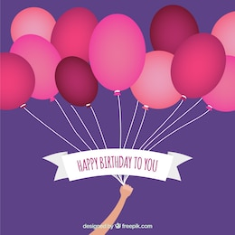 Tarjeta de cumpleaños con globos de color rojo