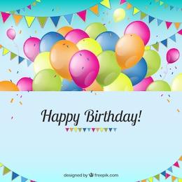 Tarjeta de cumpleaños con globos y banderines
