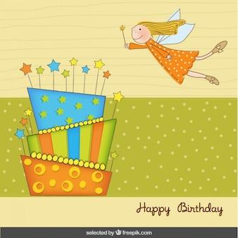 Tarjeta de cumpleaños con hada y un pastel