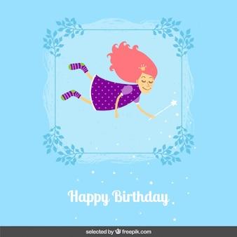 Tarjeta de cumpleaños con la hada linda