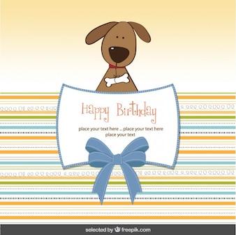Tarjeta de cumpleaños con perro encantador