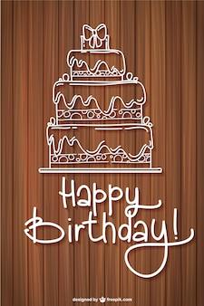 Tarjeta de cumpleaños con textura de madera
