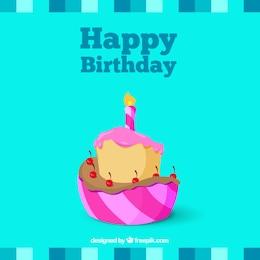 Tarjeta de cumpleaños con un pastel ilustrado