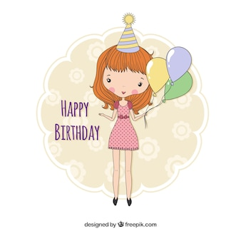 Tarjeta de cumpleaños con una chica dibujada a mano
