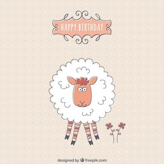 Tarjeta de cumpleaños con una oveja linda