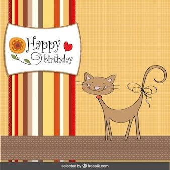 Tarjeta de cumpleaños del gato lindo en el estilo del libro