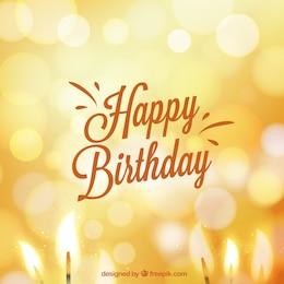 Tarjeta de cumpleaños en estilo bokeh
