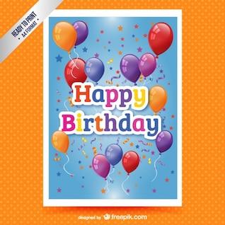 Tarjeta de cumpleaños feliz con globos