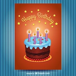 Tarjeta de cumpleaños feliz con pastel