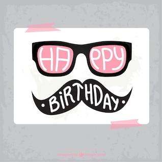 Tarjeta de cumpleaños hipster
