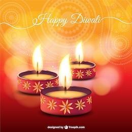 Tarjeta de Diwali con velas