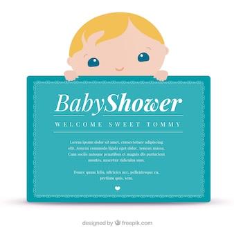 Tarjeta de felicitación azul para baby shower